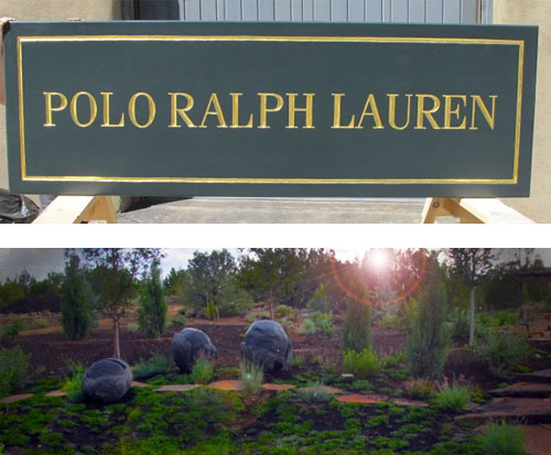 Polo Ralph Lauren sign and Santa Fe Botanical Gardens